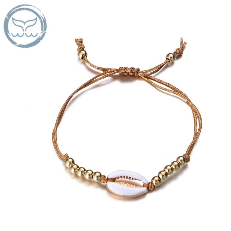Bracelet coquillage et perles marron