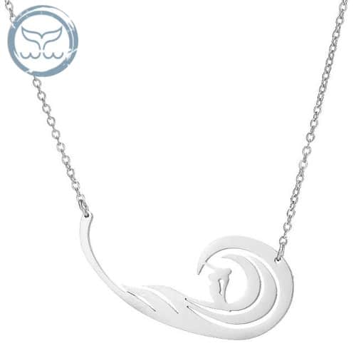 collier surf vague argent