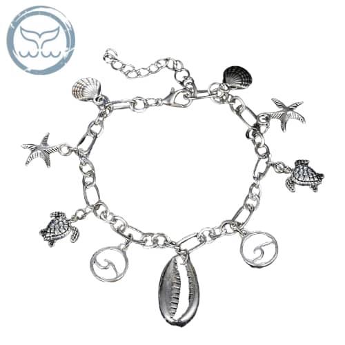 bracelet de cheville coquillage et vagues