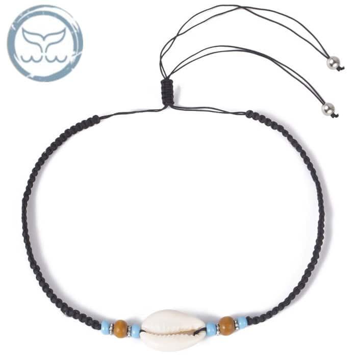 collier coquillage cordon brésilien noir