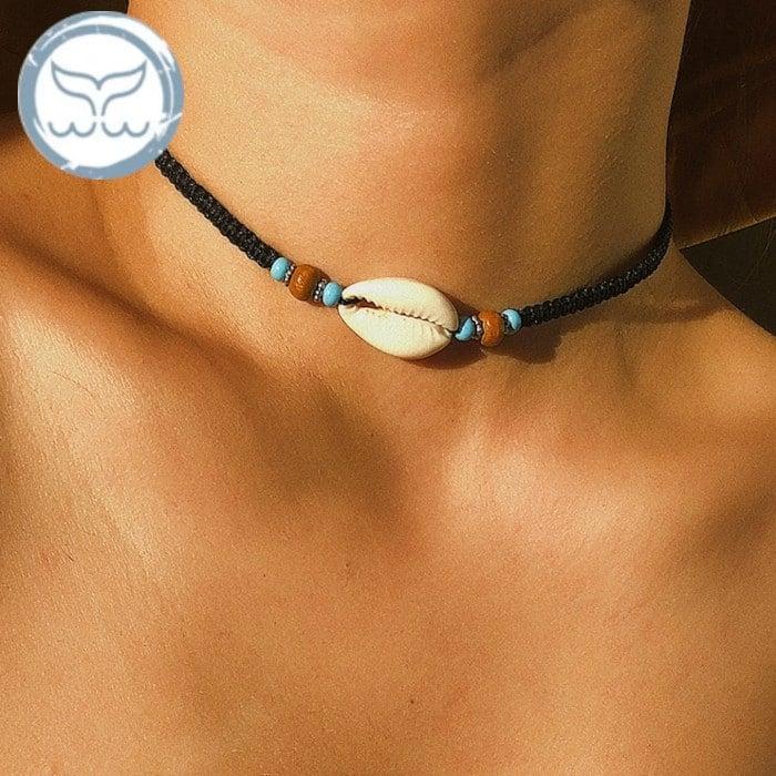 collier coquillage femme cordon noir