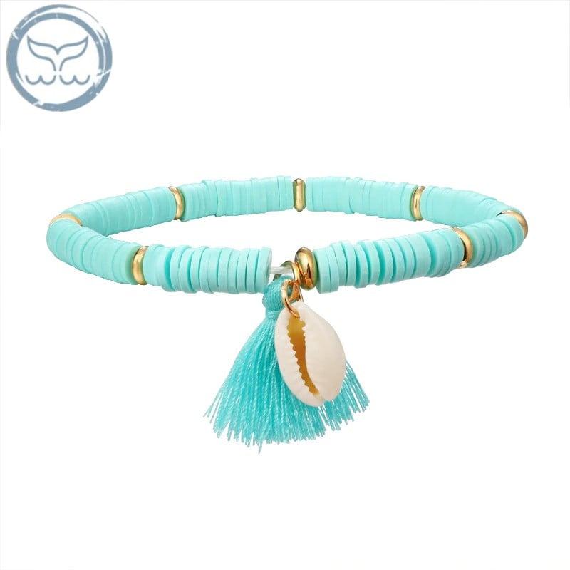 Bracelet Coquillage Heishi Bleu Clair